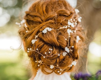 Long Gold Hair Vine With Delicate Flowers And Pearl Baby's Breath Accents, Wedding Hair Accessory