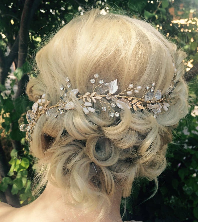 161c221fb Hair Vine Bridal Antique Gold Leaf Hair Vine Wedding Hair | Etsy
