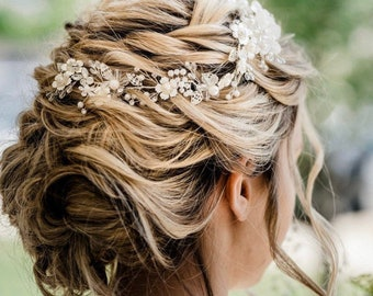 Silver Wedding Hair Piece With White And Silver Flowers, High Quality Wedding Hair Accessory