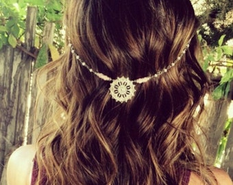 Boho Hair Chain For The Hippie At Heart. White Beaded Chain With a Silver Center Piece