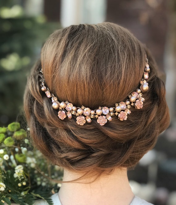 Crystal Bridal Hair Piece with Floral Beading Gold Bridal Hair Jewellery  /'CLEO/'