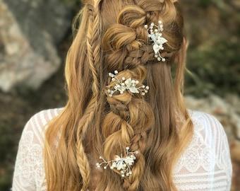 Wedding Hair Pins, Pearl Rhinestone Hair Pins, Wedding Hair Accessory, Gold Leaf Hair Pins, Bridesmaid Hair Accessory