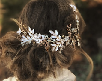 Statement Bridal Head Piece, Hair Jewelry, Rose Gold Accessory, Rhinestone Hair Accessory, Clip-In Hair Jewelry, Mixed Metal Hair Jewelry