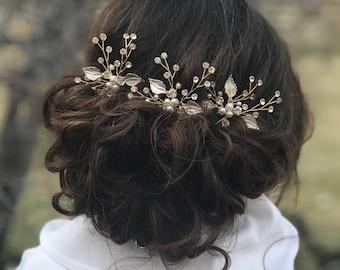 Bridal Hair Pins, Pearl Rhinestone Hair Pins, Wedding Hair Accessory, Gold Leaf Hair Pins, Bridesmaid Hair Accessory