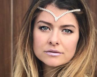 Bridal Head Jewelry, Vintage Hair Chain Accessory, Gatsby Head Chain, Jeweled Crystal Hair Chain, Silver Hippie Wedding Head Piece.