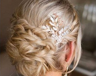 Rose Gold Flower Hair Comb, Flower Hair Accessory,  Hair Jewelry, Wedding Hair Comb, Bridal Hair Accessory