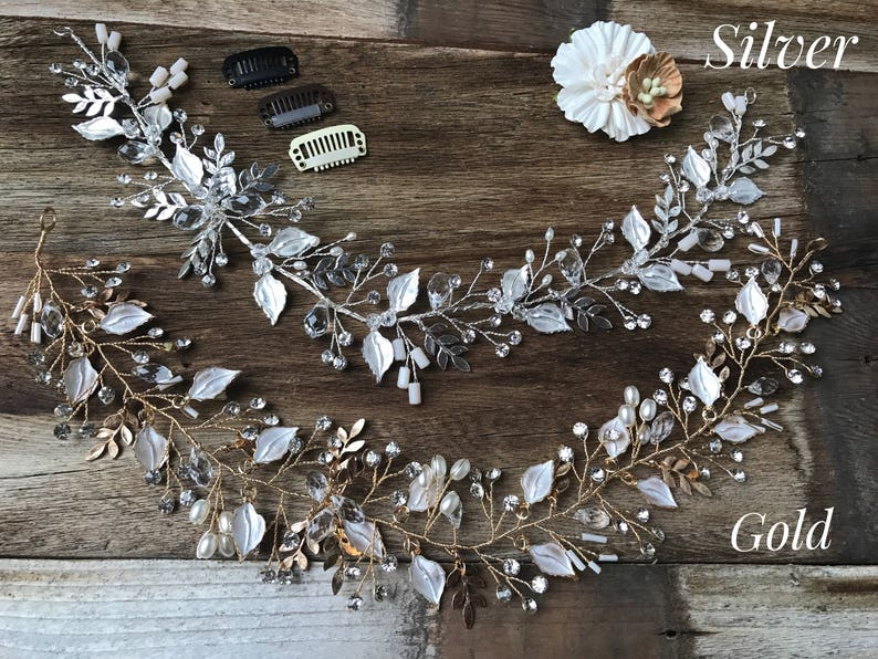 Hand Beaded Bridal Hair Vine Features Rhinestones Delicate Leaves and Accent Pearls