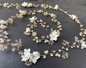 Long Hair Vine With Custom Flowers, Wedding Hair Accessory