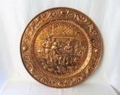 "Large Copper Repousse Plate, 25"""