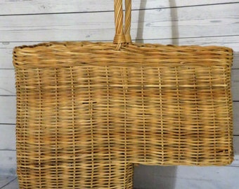 Wicker Step Basket, Woven Handle Large Storage Basket, Stairstep Storage,  26 X 19 X 9 Inch Stair Organization, Cottage Decor