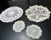 Crochet Doily Ecru, Set of 4