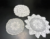 Crochet Doily White Set of Three