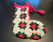 Large Handmade Granny Square Christmas Stocking