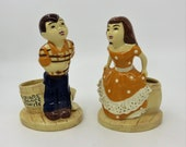 "Pair of Stewart B McCulloch Planters ""Square Dance Tonite"" Boy and Girl Planters"
