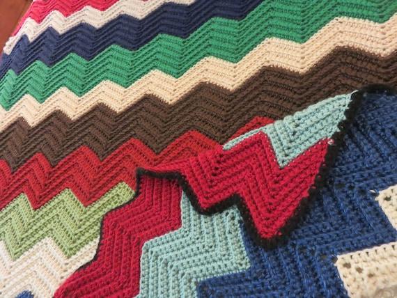 Häkeln afghanischen Chevron gestreifte Decke Multi Color | Etsy