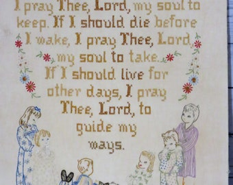 "Prayer Cross Stitch Sampler, Now I Lay Me Down To Sleep, 25 x 19"" 1920s Vintage Cross Stitch Good Night Prayer,  Country Home"