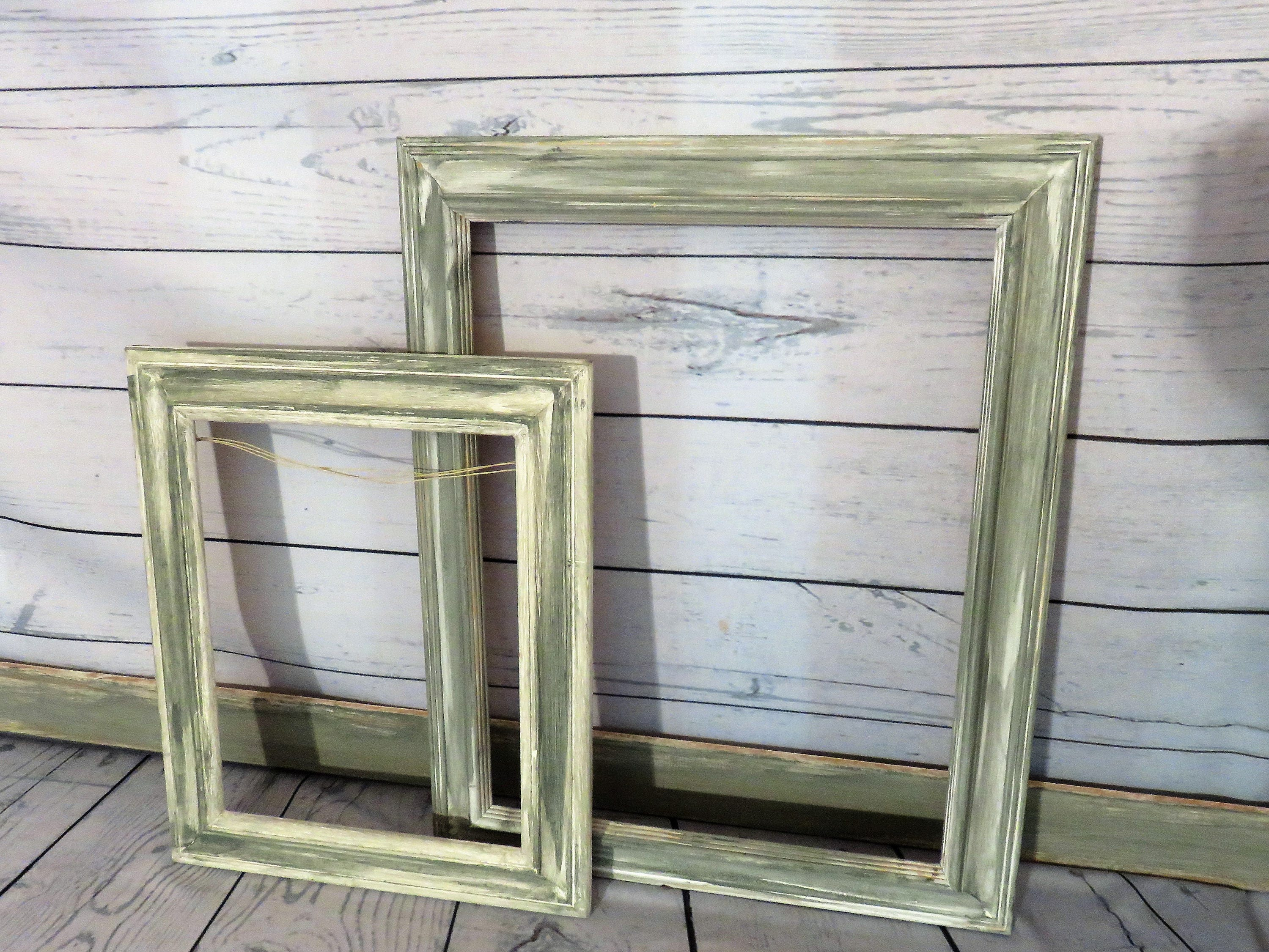 Gallery Frame Set of Two, Distressed Gray, White Wooden Picture ...