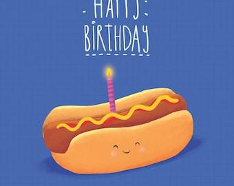 Hotdog Birthday Card! Fun card for anyone!