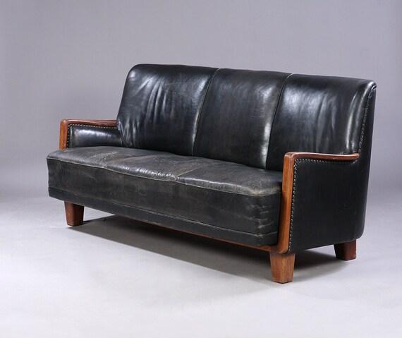Danish Modern Black Leather Sofa