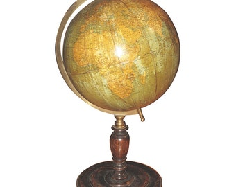 Vintage Table-Top Globe on Turned Oak Base by George Philips of London