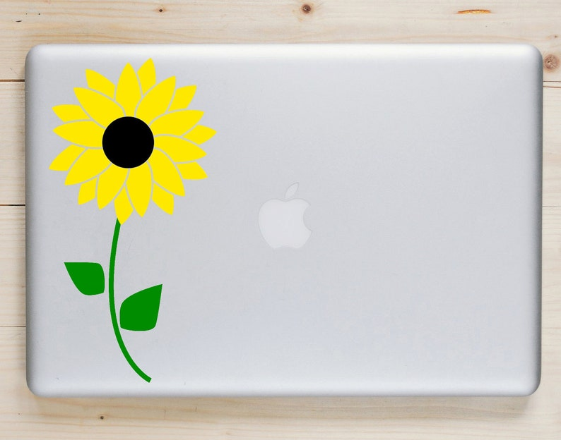 Choose Your Colors Sunflower Decal Flower Laptop Sticker image 0