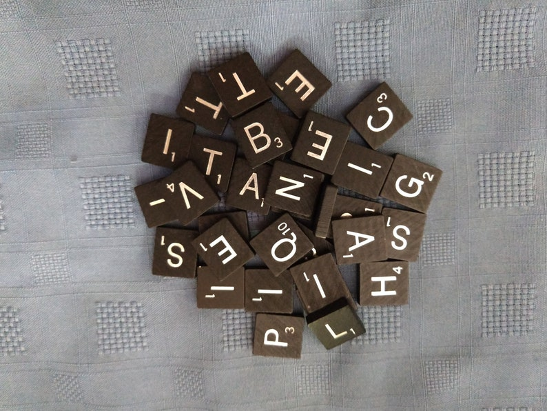 Black and Silver Scrabble Tiles Pick Your Letters Individual image 0