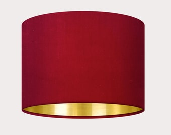 Raspberry Pink Velvet Fabric with a Brushed Gold Metallic Lining Drum Lampshade Ceiling Shade