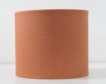 Orange lampshade etsy handmade burnt orange drum lampshade lightshade textured linen choice of colours aloadofball Images
