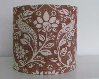Handmade Country Woodland Hare Pheasant Burnt Copper Fabric Lampshade Lightshade 20cm 30cm 40cm
