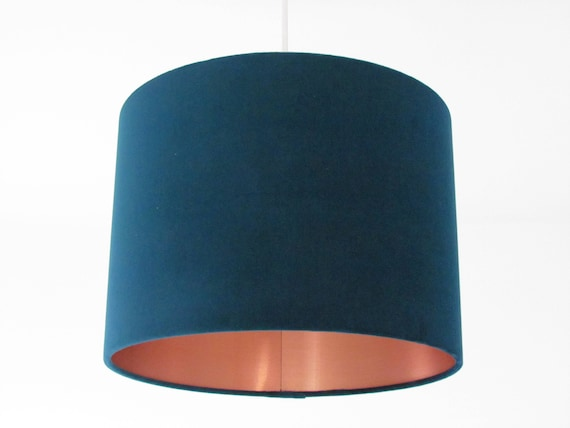 Navy Blue Velvet Fabric with a Brushed Copper Metallic Lining Drum Lampshade Ceiling Shade
