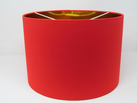 NEW Handmade Metallic Mirror Gold Lined Bright Yellow Drum Lampshade Lightshade