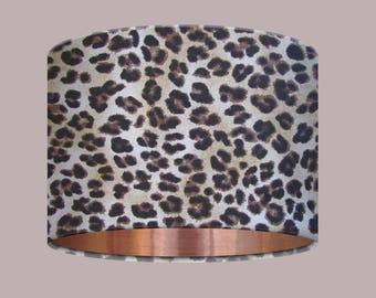 Kitsch Leopard Animal Print Brushed Copper Lining Drum Lampshade