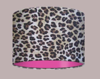 Kitsch Leopard Animal Print with Hot Pink Lining Drum Lampshade