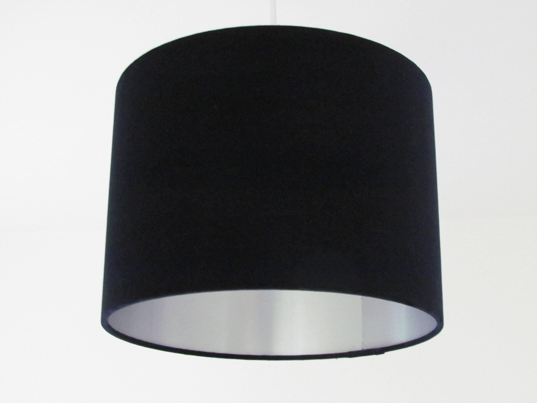 Navy Blue Velvet Lampshade Silver Lining Metallic Lightshade