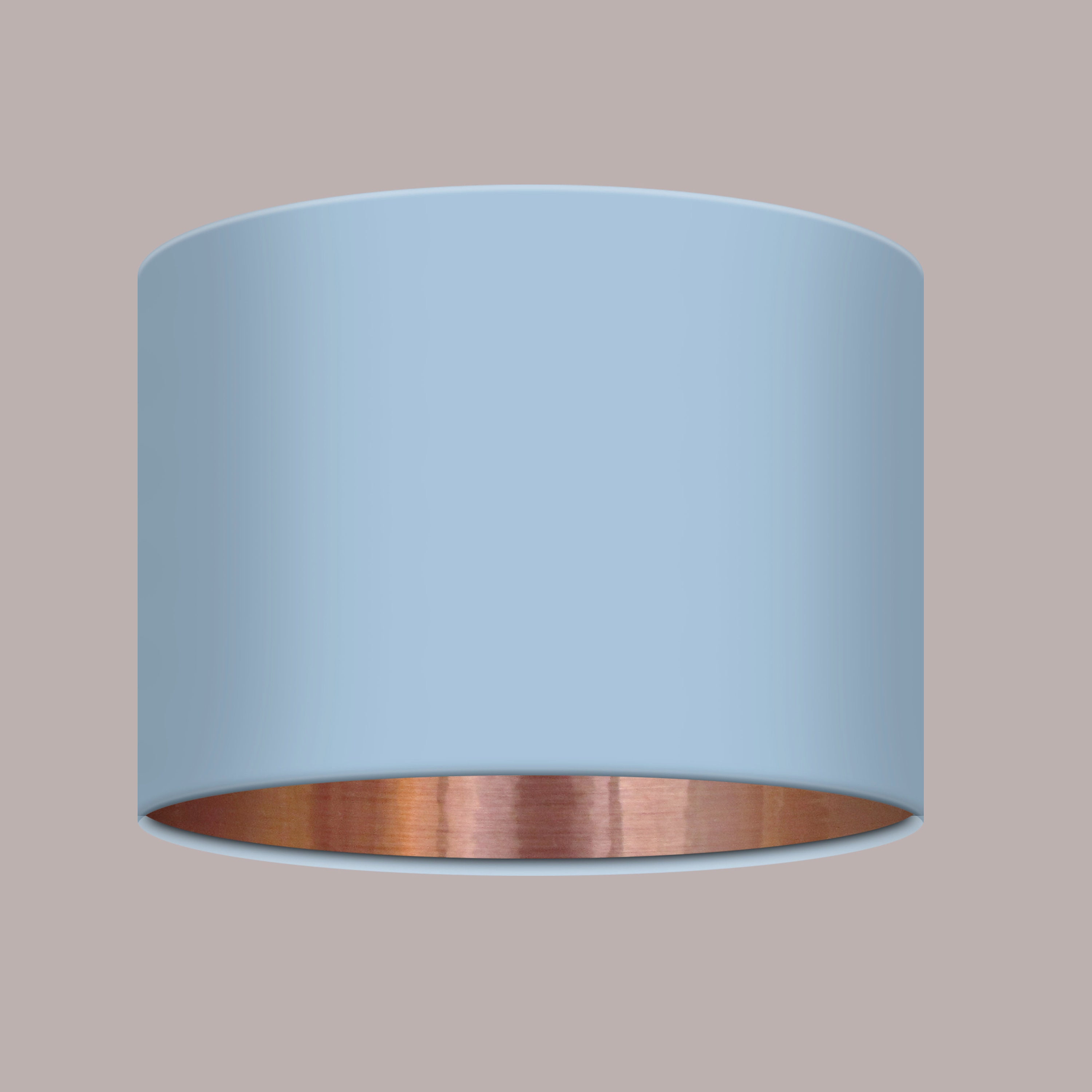Plain Pale Blue Fabric Drum Lampshade Lightshade Brushed Silver Lining Statement