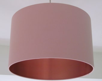 NEW Handmade Brushed Copper Lined and Pale Pink Fabric Lampshade Lightshade