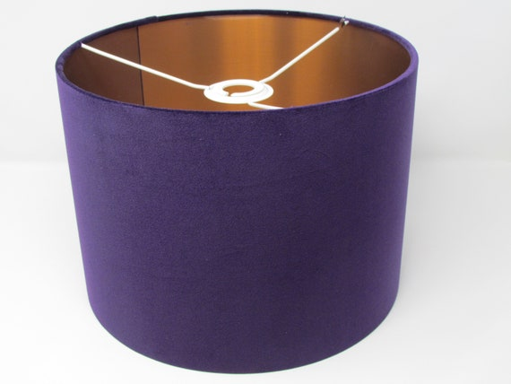 Cadbury Purple Cotton and Brushed Copper Lined Lampshade