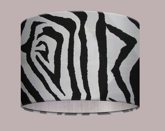 Kitsch Black White Monochrome Zebra Animal Print Brushed Silver Lining Drum Lampshade