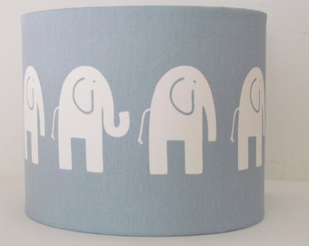 Handmade Lampshade Modern Washed Blue & White Elephant Nursery Childrens 20cm 25cm 30cm Lightshade Novelty