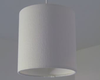 Handmade Crisp Snow White Textured Linen Drum Lampshade Lightshade