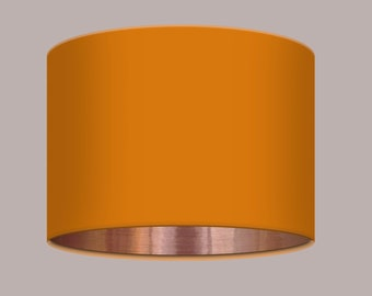 Plain Bright Pumpkin Orange Lampshade Brushed Copper Lining All Sizes