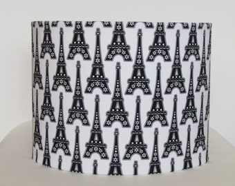 NEW Handmade Lampshade Modern Vintage Paris Eiffel Tower Fabric Lightshade