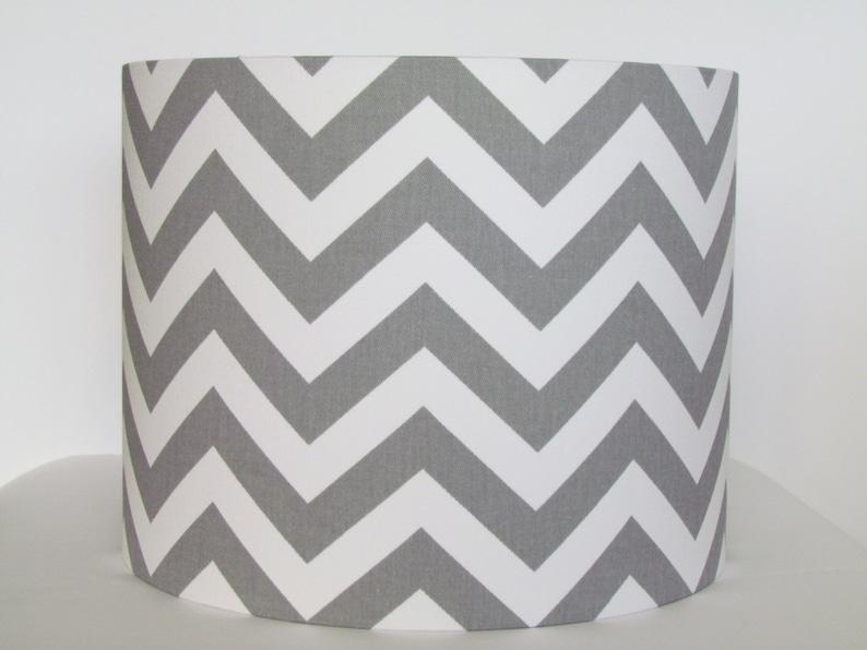 Grey And White Chevron Zig Zag Lampshade Handmade In 25cm Drum Contemporary