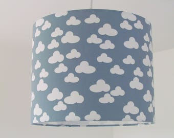 Handmade Grey and White Fluffly Cloud Lampshade 20cm 25cm 30cm Lightshade Baby Nursery