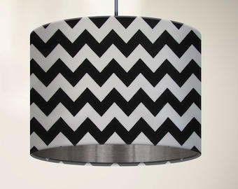 Black and White Zig Zag Chevron with Metallic Brushed Silver Lining Drum Lampshade