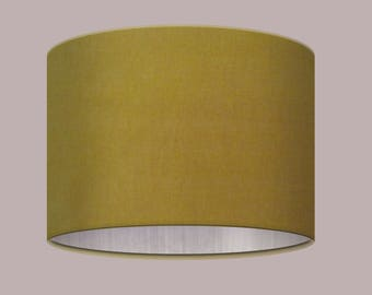 Handmade Mustard Yellow Gold Velvet with Metallic Brushed Silver Lining Lampshade Statement Luxurious