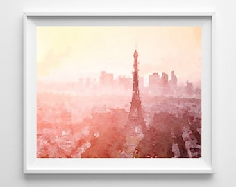 Paris Art  Print Eiffel Tower Artwork Painting  Watercolor  Wall Decor  Home Decor Living Room  Pic no 73
