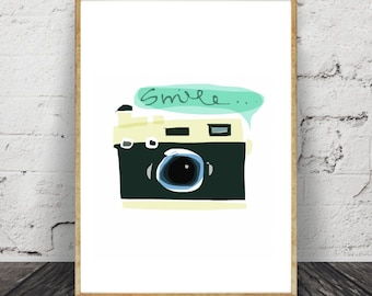 Camera Print, Smile,Nursery,Wall Art,Painting,Home Decor, Pic. No. 139