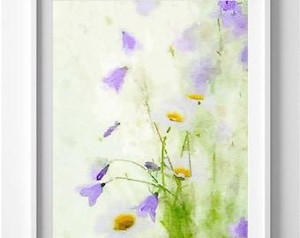 Flower Painting Wild Flowers Art Print Purple Flowers Wall Decor Home Decor Pic no 75