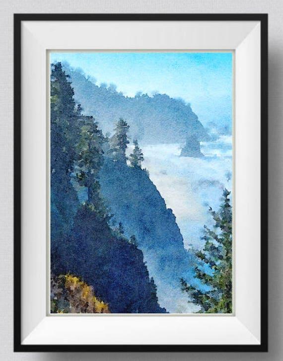 Oregon Boardman State Park Wall Art Print Watercolor Painting Etsy